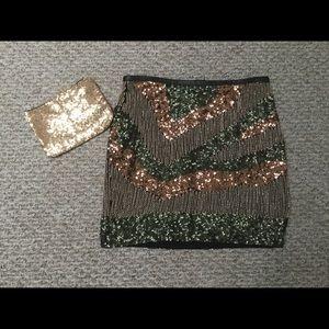 Gorgeous Sequined Mini Skirt & Bonus Clutch